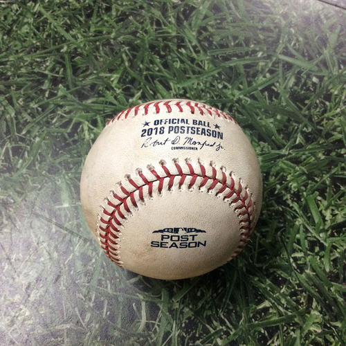 Photo of Game-Used Baseball NLCS Game 7 LAD@MIL 10/20/18 - Walker Buehler - Lorenzo Cain: Double