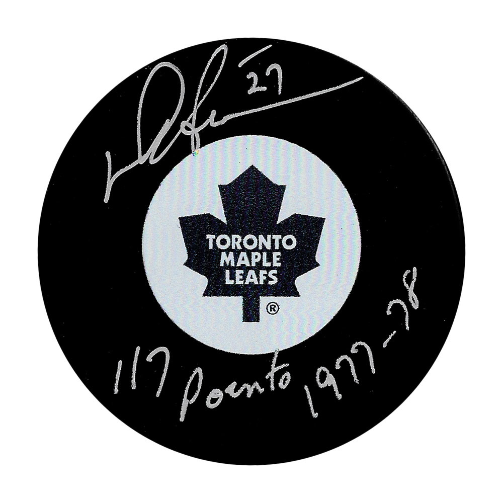 Darryl Sittler Autographed Toronto Maple Leafs Puck w/117 POINTS 1977-78 Inscription