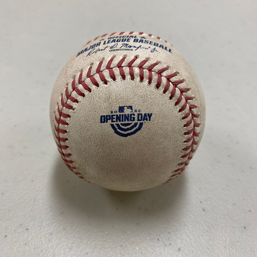 Photo of 2020 Game Used Opening Day Baseball used on 7/28 vs. SD - B-4: Wilmer Flores Singles to CF off Zach Davies - Opening Day Logo Baseball