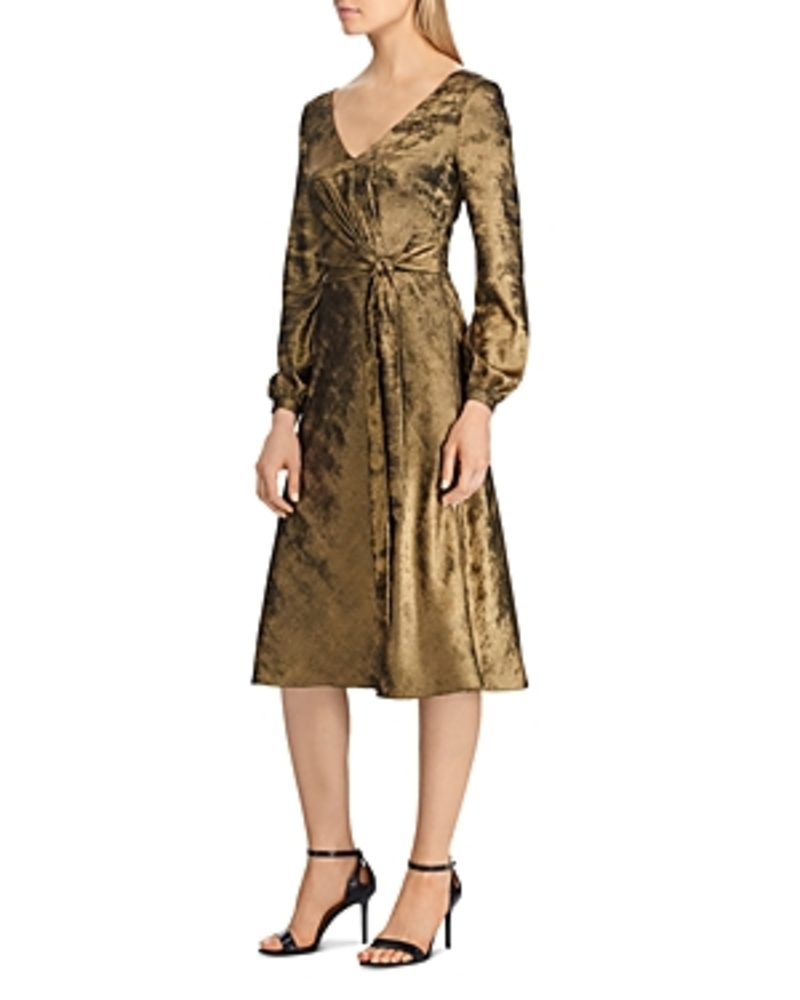 Photo of Lauren Ralph Lauren Faux-Wrap Sateen Dress
