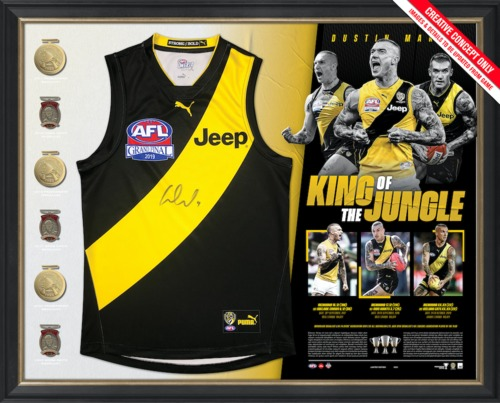 Photo of Dustin Martin Signed Deluxe Guernsey Display - Edition Number 44