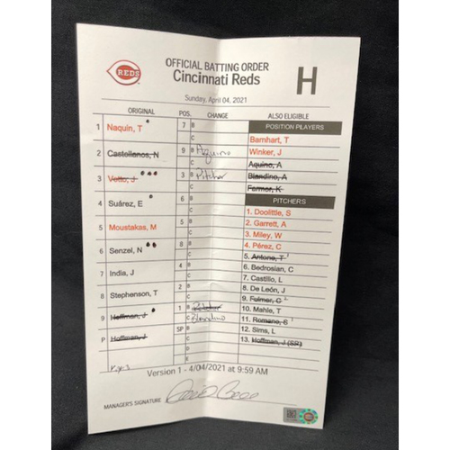 Photo of Official Batting Order Card -- Cincinnati Reds -- Cardinals vs. Reds on 4/4/21 -- $5 Shipping