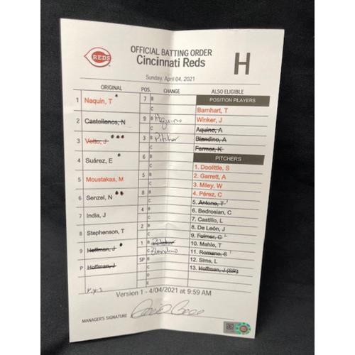 Official Batting Order Card -- Cincinnati Reds -- Cardinals vs. Reds on 4/4/21 -- $5 Shipping