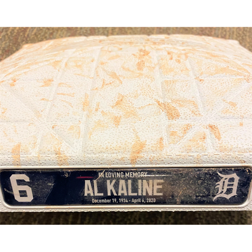 Photo of Akil Baddoo April 6 Walk-Off Single Detroit Tigers Comerica Park Game-Used Base with Al Kaline Remembrance Base Jewels (MLB AUTHENTICATED)