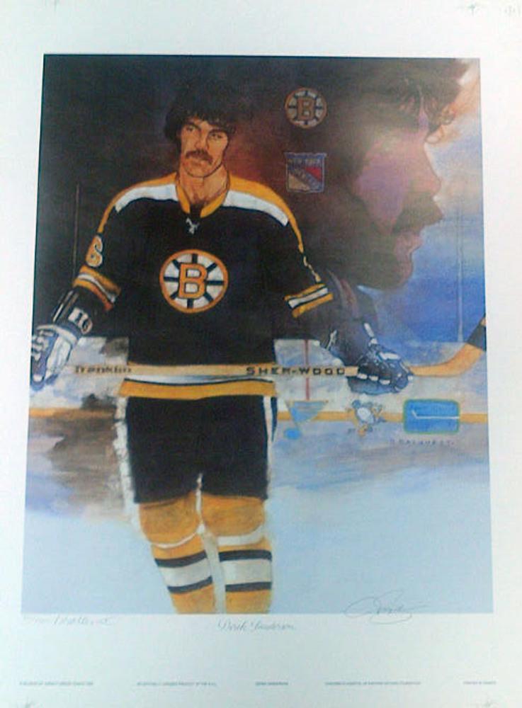 DEREK SANDERSON Autographed Boston Bruins Limited Edition #/2000 20x25 Art Print