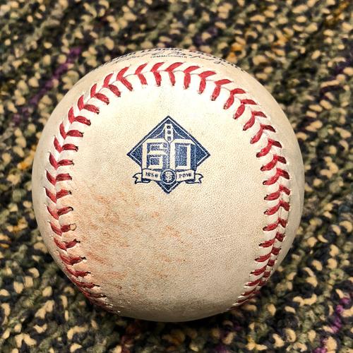 Photo of 2018 San Francisco Giants - 2018 Game Used Baseball - Buster Posey Single - 4/9/2018 vs. Arizona Diamondbacks - (Also Longoria Foul Ball)