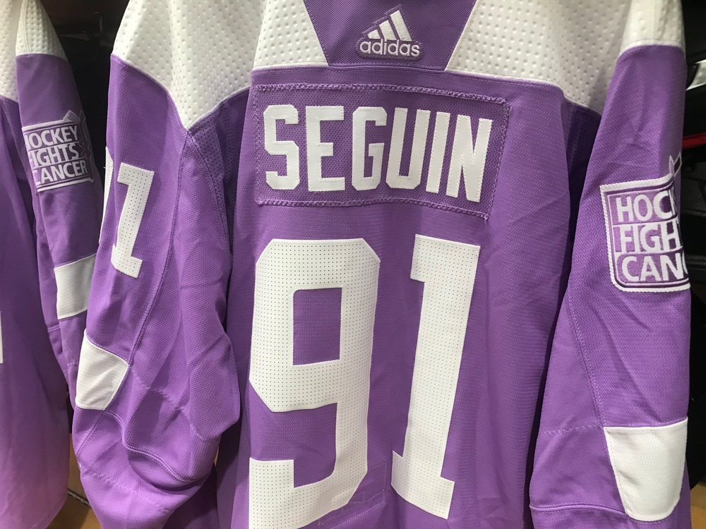 Tyler Seguin Warm Up Worn Hockey Fights Cancer Jersey