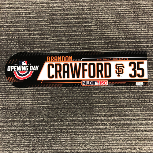 2019 Opening Day Game Used Locker Tag - #35 Brandon Crawford