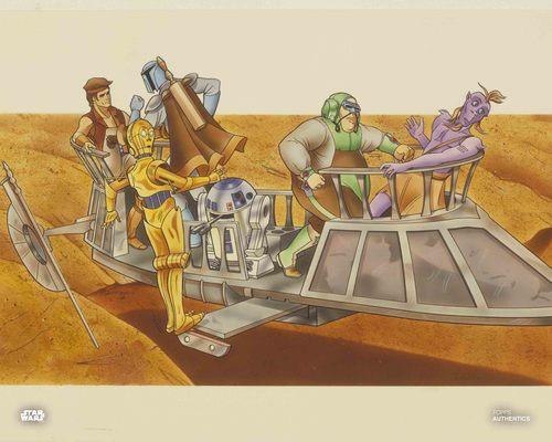 C-3PO, Jann Tosh, Boba Fett, Kleb Zellock and R2-D2