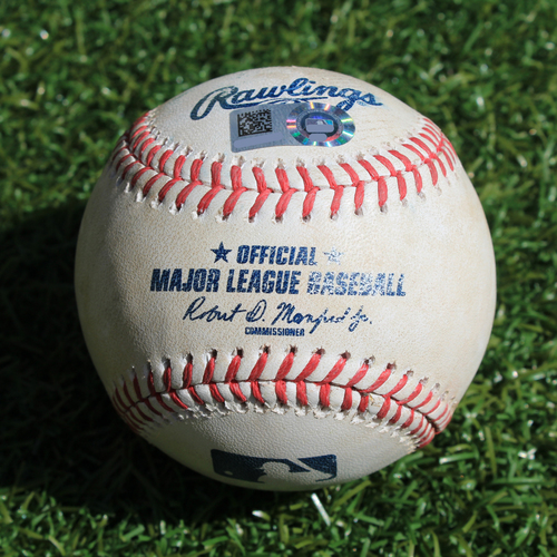 Game-Used Baseball: Harold Castro 9th Career Double and 36th and 37th Career RBIs & Dawel Lugo 63rd Career Hit and 26th Career RBI (DET @ KC - 9/4/19)