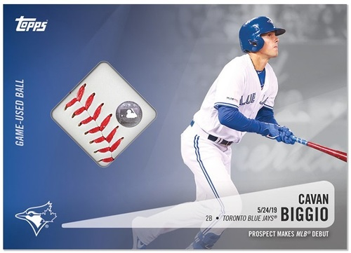 Photo of Cavan Biggio Topps Relic Card with Piece of Game Used Baseball from MLB Debut (May 24, 2019)