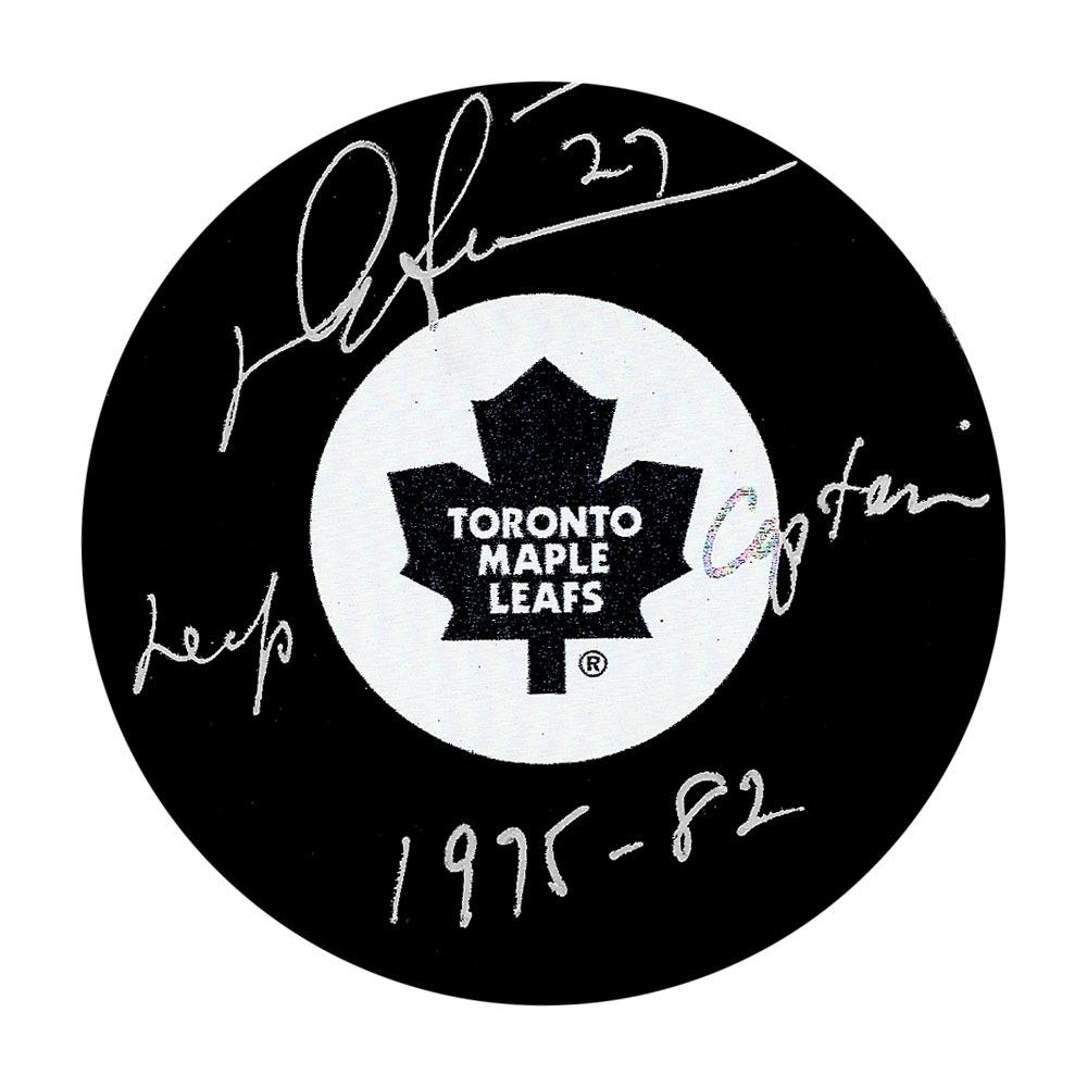 Darryl Sittler Autographed Toronto Maple Leafs Puck w/LEAFS CAPTAIN 1975-82 Inscription