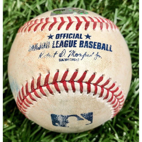 Photo of Game Used Baseball: Aaron Slegers strikes out Christian Arroyo and Tzu-Wei Lin ground out - September 13, 2020 v BOS
