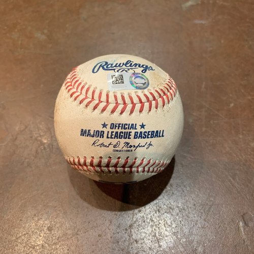 Photo of 2021 Game Used Baseball used on 4/11 vs. COL - T-6: Anthony DeSclafani to Josh Fuentes - Strike Out Swinging