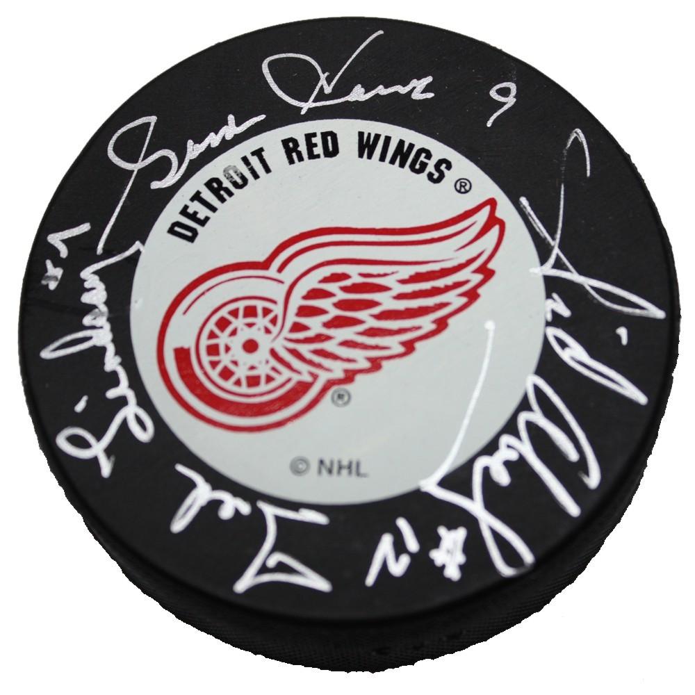 Gordie Howe, Ted Lindsay and Sid Abel Autographed Detroit Red Wings Puck