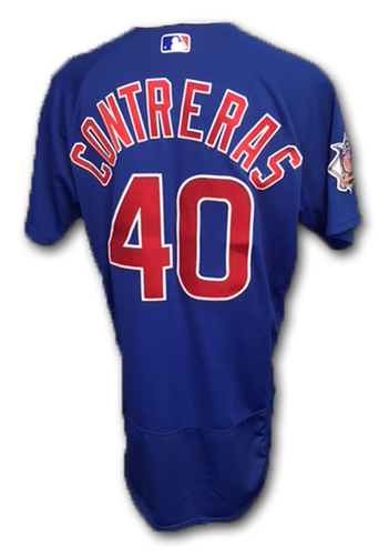 Photo of Willson Contreras Game-Used Jersey -- Cubs at Marlins, 3/30/18 -- Cubs at Brewers, 6/11/18