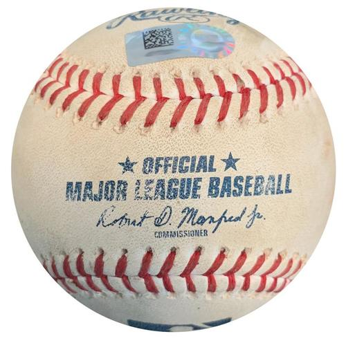 Photo of Game-Used Baseball from Pirates vs. Brewers on 9/21/18 - Christian Yelich Single