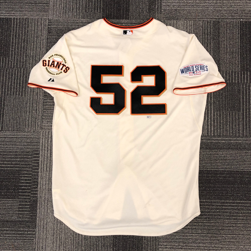 Photo of 2014 World Series Game Used Jersey - World Series Game 5 vs. Kansas City Royals - Used by #52 Yusmeiro Petit - Size 52