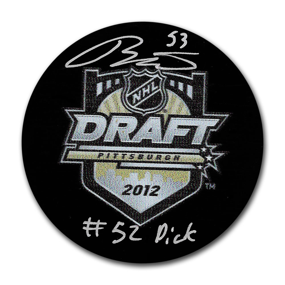 Teddy Blueger Autographed 2012 NHL Entry Draft Puck w/52ND OVERALL PICK Inscription