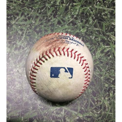 Photo of Game-Used Baseball CHC@MIL 04/05/19 - Brandon Woodruff - Ben Zobrist: Single