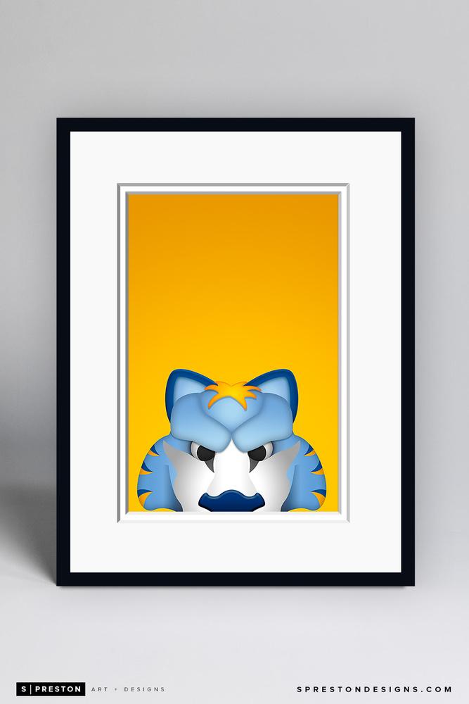 Gnash - Framed Limited Edition Minimalist NHL Mascot Art Print (135/350) by S. Preston