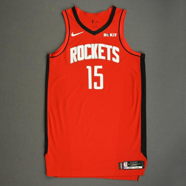 Image of Clint Capela - Houston Rockets - Kia NBA Tip-Off 2019 - Game-Worn Icon Edition Jersey - Double-Double