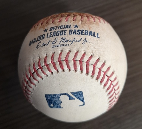 Photo of Authenticated Game Used Baseball - Ball to Cavan Biggio against Joey Lucchesi (May 24, 19 vs SDP). Bottom 5. MLB Debut for Cavan Biggio