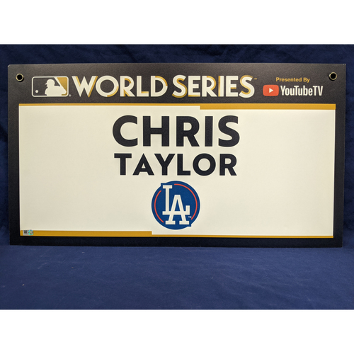 Photo of Team-Issued Chris Taylor 2017 World Series Media Sign