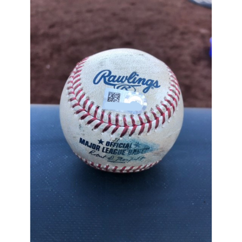 Photo of Game-Used Baseball - 2020 ALCS - Houston Astros vs. Tampa Bay Rays - Game 2 - Pitcher: Lance McCullers Jr., Batter: Ji-Man Choi (Strike Out on Foul Tip) - Bot 3