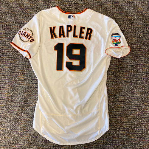 Photo of 2021 Game Used Home Cream Jersey with SF Logo Pride Patch - #19 Gabe Kapler - Worn 6/5/21 vs CHC - Size 44