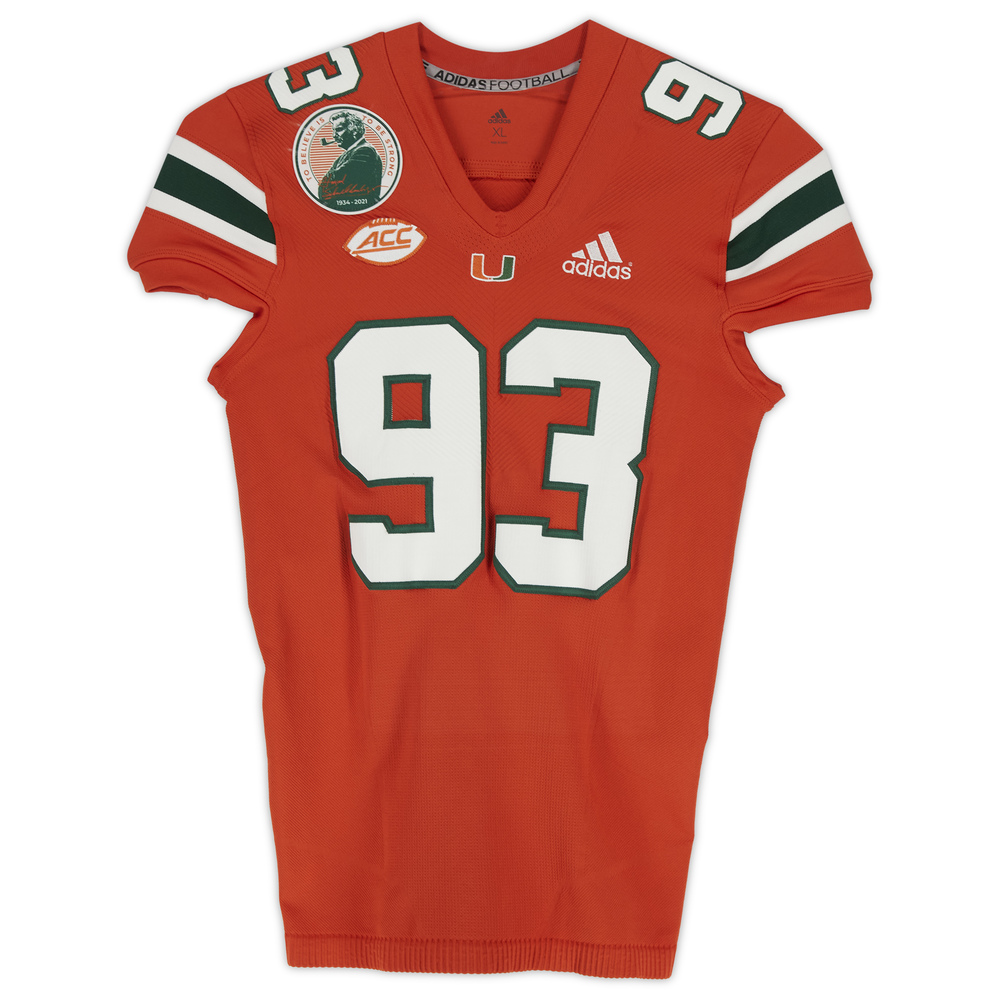 #93 Miami Hurricanes Game-Used adidas Primeknit Jersey with Howard Schnellenberger Patch vs. Virginia Cavaliers September 30, 2021 - Size XL