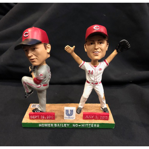 Photo of Homer Bailey & Jay Bruce -- Autographed Commemorative No-Hitter Bobble Head