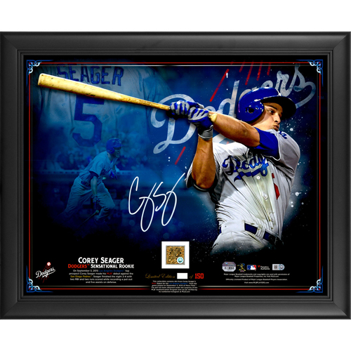 "Photo of Corey Seager Los Angeles Dodgers Framed Autographed 16"" x 20"" MLB Debut Collage with a Piece of Game-Used MLB Debut Dirt - #150 of L.E. of 150"