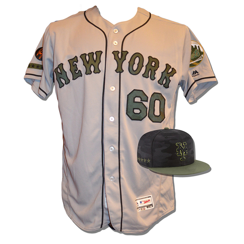 Photo of P.J. Conlon #60 - Game Used Road Grey Memorial Day Jersey and Hat - Mets vs. Braves - 5/28/18