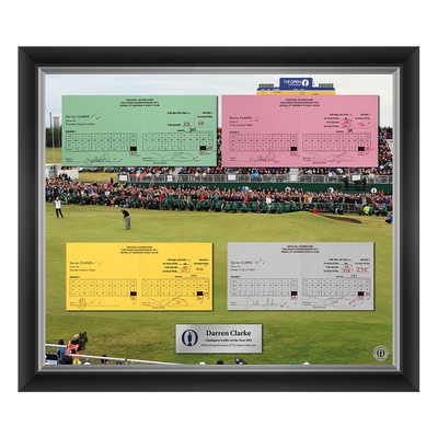 Photo of 1 of 200 L/E Darren Clarke, Champion Golfer of Year, The 140th Open 1,2,3 and Final Round Scorecard Reproductions Framed
