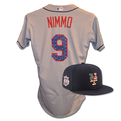 Photo of Brandon Nimmo #9 - Game Used 4th of July Jersey and Hat - Nimmo Goes 1-3, RBI, Run Scored, 2 Walks - Mets vs. Blue Jays - 7/4/18