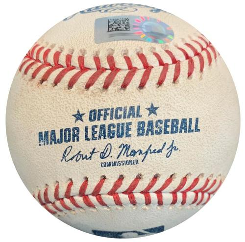 Photo of Game-Used Baseball from Pirates vs. Brewers on 9/21/18 - Jonathan Schoop Single
