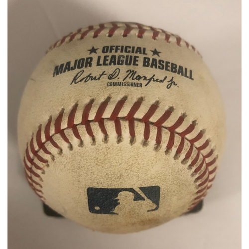 Photo of Johan Camargo Game-Used RBI Double Baseball - Touki Toussaint MLB Debut 8/13/18
