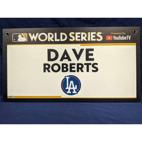 Photo of Team-Issued Dave Roberts 2017 World Series Media Sign