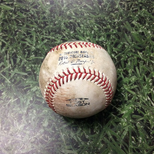 Photo of Game-Used Baseball NLCS Game 7 LAD@MIL 10/20/18 - Walker Buehler - Travis Shaw: Double