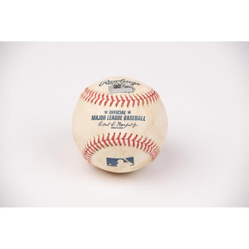 Photo of Game Used Baseball: Pitcher: Keynan Middleton, Batter: Carlos Correa - Double - Top 5 - 7-31-2020 vs. HOU