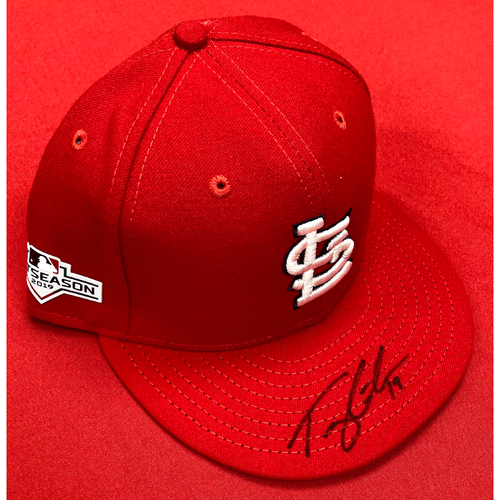 Photo of Tommy Edman Autographed Team Issued Home Cap w/ 2019 Postseason Patch (Size 7 1/2)