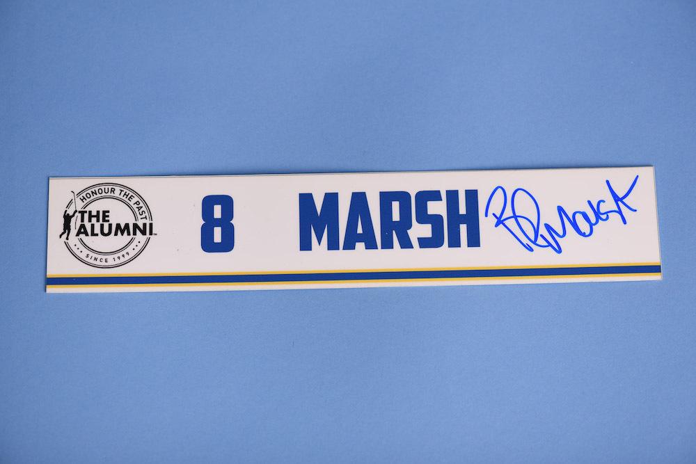 Brad Marsh autographed 2020 NHL Alumni All Star Game Locker Room Stall Nameplate