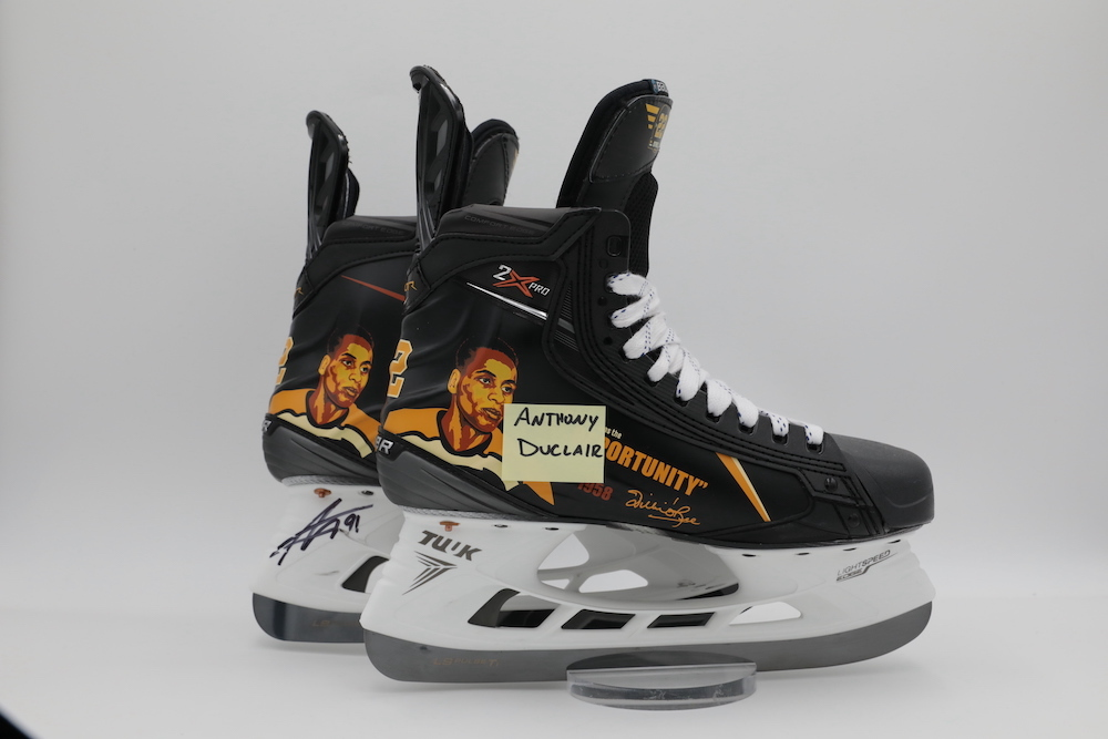 Willie O'Ree Custom Bauer Skates autographed and worn by Anthony Duclair during pregame warmups - Florida Panthers