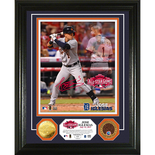 Detroit Tigers Jose Iglesias Autographed All-Star photo Framed with All-Star Dirt