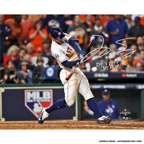 "Photo of George Springer Houston Astros 2017 MLB World Series Champions Autographed 16"" x 20"" World Series Photo with Multiple Inscriptions - #50 of L.E. of 50"