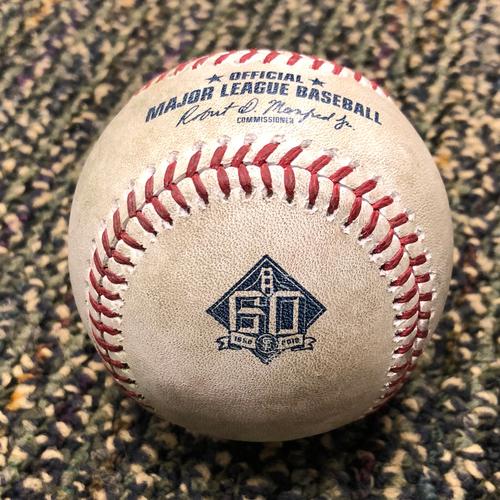 Photo of 2018 San Francisco Giants - 2018 Game Used Baseball - Joe Panik Single - 4/24/2018 vs. Washington Nationals - (Also McCutchen - Pitch in the Dirt)