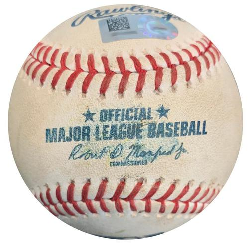 Photo of Game-Used Baseball from Pirates vs. Brewers on 9/23/18 - Mike Moustakas Foul