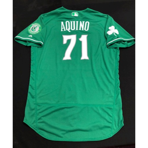 Photo of Aristides Aquino -- Team-Issued Jersey -- 2019 St. Patrick's Day
