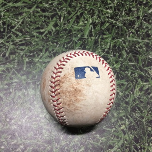 Photo of Game-Used Baseball CHC@MIL 04/07/19 - Kyle Hendricks - Ben Gamel: Single